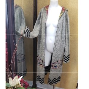 Jodifil multi color gray cardigan hooded Large